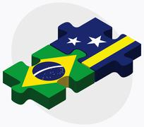 Brazil and Curacao Flags Stock Illustration