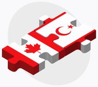 Canada and Turkish Republic of North Cyprus Flags Stock Illustration