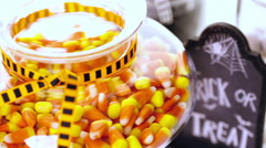 Stock Video Footage of Variety of sweets prepared as Halloween treats.