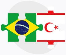 Stock Illustration of Brazil and Turkish Republic of North Cyprus Flags