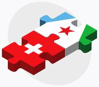 Switzerland and Djibouti Flags Stock Illustration