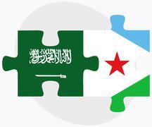 Saudi Arabia and Djibouti Flags - stock illustration