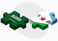 Saudi Arabia and Djibouti Flags Stock Illustration