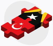 Stock Illustration of Turkey and East Timor Flags
