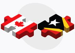 Canada and East Timor Flags - stock illustration