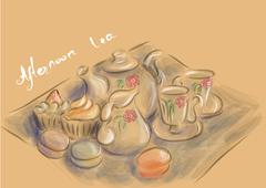 Afternoon tea party Stock Illustration