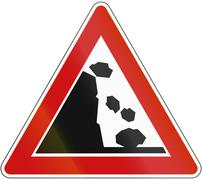Stock Illustration of A road warning sign in Germany: Falling rocks from the left