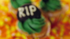 Cupcakes with green icing prepared as Halloween treats. Stock Footage