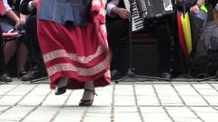 Stock Video Footage of Tarantella italian folk dance.Anonymous feet dancing and accordion. Slow motion