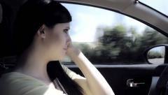 Stock Video Footage of Beautiful woman crying while driving car