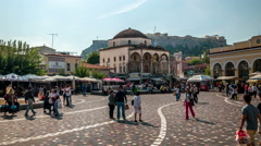 Athens. Typical daily scene on the Monastiraki square Stock Footage