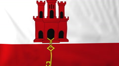 Flag of Gibraltar waving in the wind, seemless loop animation Stock Footage