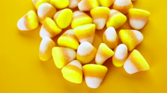 Candy corn prepared as Halloween treats. Stock Footage