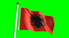 Albanian flag (with green screen) Stock Footage