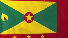 Flag of Grenada waving in the wind, seemless loop animation Stock Footage