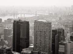 Black and white urban scene with skyscrapers in New York City Stock Photos