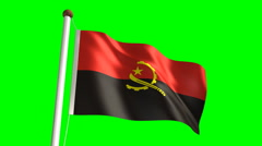 Angolan flag (with green screen) Stock Footage