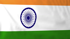 Flag of India waving in the wind, seemless loop animation - stock footage