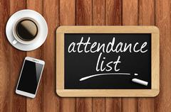 coffee, phone  and chalkboard with  word attendance list - stock photo
