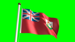 Bermudian flag (with green screen) Stock Footage
