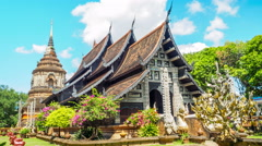 Clouds moving on the blue sky at Wat Lok Molee Stock Footage
