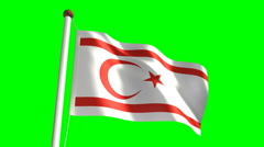 Cyprus Turkish Republic flag (with green screen) Stock Footage