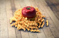 bunch of pasta with tomato - stock illustration