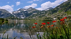 Breathtaking view of a lake in the Pirin mountain, Bulgaria Stock Footage