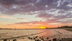 4K Sunset pan time lapse view of Tavira Quatro Aguas beach in Ria Formosa - stock footage