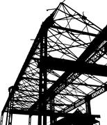 Silhouette of an old factory in black and white Stock Illustration