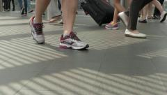 HONG KONG - People walking on skywalk. Close up of feet. 4K resolution Stock Footage