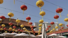 Chinese lanterns in Wong Tai Sin Temple. Hong Kong 2015. 4K resolution. Stock Footage