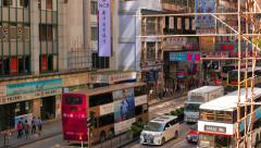 HONG KONG - October 2015: Street view with traffic and signboards in Kowloon. 4K Stock Footage
