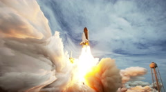 Space Shuttle Launch Animation, 4K Stock Footage