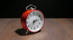alarm clock on a black background located side 4k - stock footage
