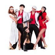 cabaret dancer team dressed in vintage costumes - stock photo