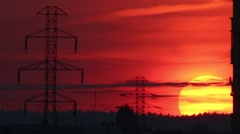 Sunset electric power poles time lapse Stock Footage