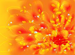 Abstract vector fractal with autumn leaves and rowan. EPS10 vector illustration - stock illustration