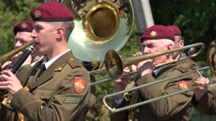 Military orchestra band play various instruments. 4K - stock footage