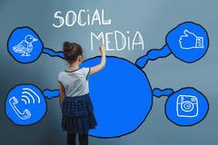 Social media network  infographics set sketch teen girl is back Kuvituskuvat