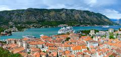 Top view of Old town and cruise ship in Bay of Kotor, Montenegro - stock photo