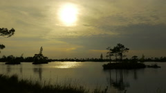 Sunset over swamp islands. Autumn daytime. Smooth dolly shot. Stock Footage