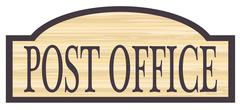 Wooden Post Office Store Sign Stock Illustration