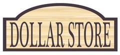 Wooden Dollar Store Sign Stock Illustration