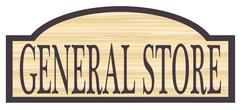 Wooden General Store Sign - stock illustration