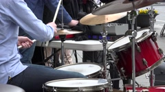 Closeup of street musician drummer. 4K Stock Footage