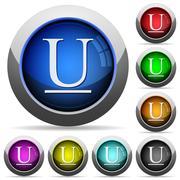 Underlined font button set Stock Illustration