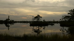 Sunset among swamp marsh islands. Autumn daytime. Smooth dolly shot. Stock Footage
