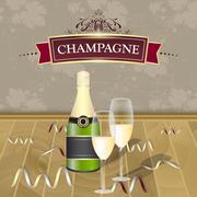 Champagne vector illustration. - stock illustration