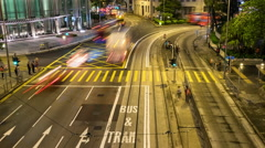 Car light trails and urban landscape in Hong Kong Stock Footage